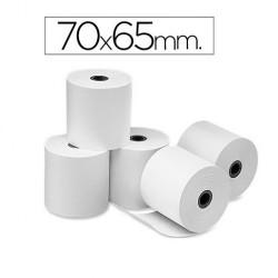 Rollo de papel electra – offset, medida 70 x 65 mm. Envase de 10 rollos