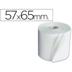 Rollo de papel electra copiativo 2 hojas Q-connect, medida 57 x 65 mm. Pack de 10 rollos.