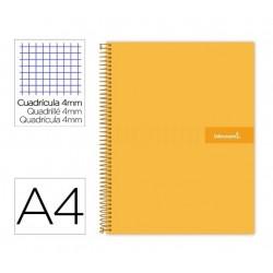 Cuaderno espiral Liderpapel Crafty A4 tapa forrada 80 hojas 90 gramos cuadrícula 4 mm color naranja.