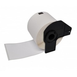 Brother DK22214 compatible, etiquetas blancas de papel térmico 12 mm x 30,48 m