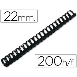 Canutillo Q-connect redondo 22 mm plástico negro capacidad 200 hojas. Caja de 50 unidades.