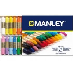Ceras blandas de colores Manley. Caja de 24 colores